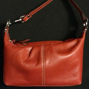 Coach orange leather mini handbag NWOT